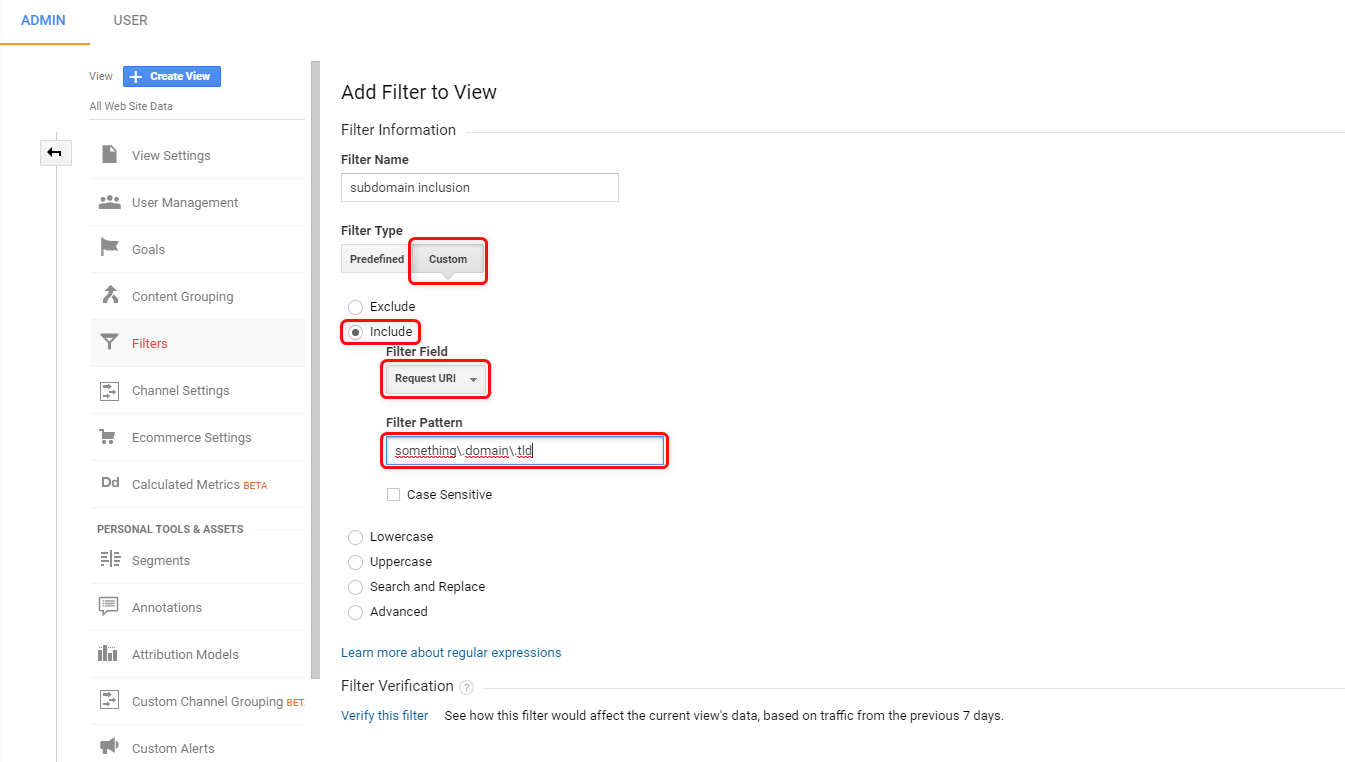 Filter Settings in Google Analytics to track only Subdomains