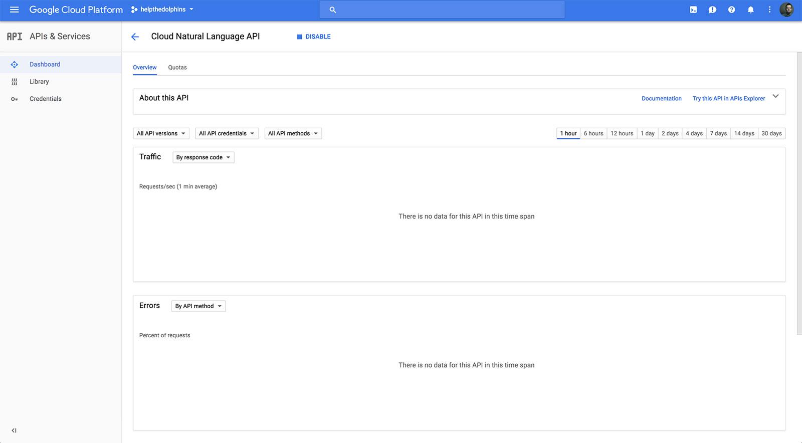 Cloud Natural Language API Screen