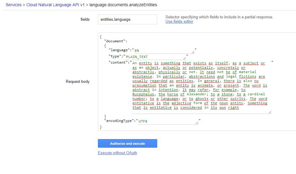 Natural Language API Settings