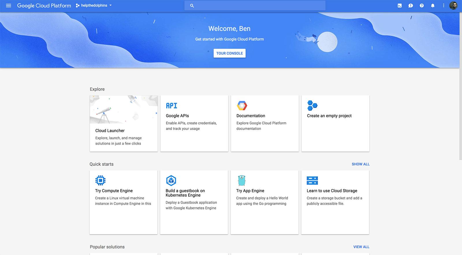Google Cloud Setup Screen